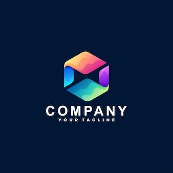 Logotipo de cor gradiente abstrato