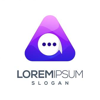 Logotipo de cor gradiente de bate-papo triângulo