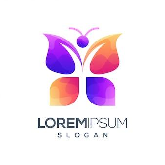Logotipo de cor gradiente de borboleta
