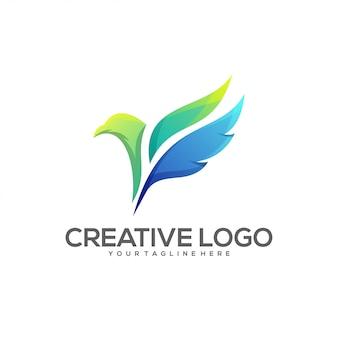Logotipo de cor gradiente de caneta pena incrível pássaro