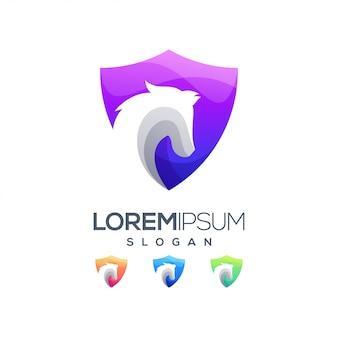 Logotipo de cor gradiente de cavalo