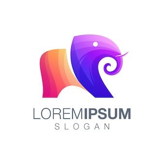 Logotipo de cor gradiente de elefante