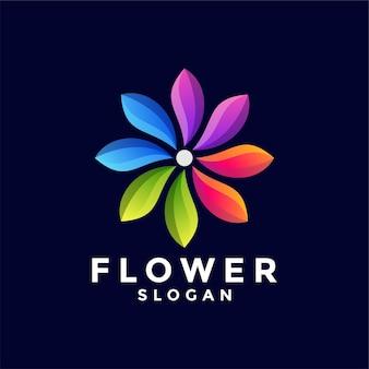 Logotipo de cor gradiente de flor