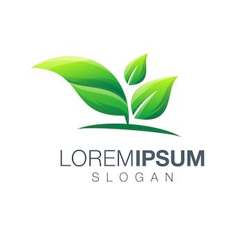 Logotipo de cor gradiente de folha