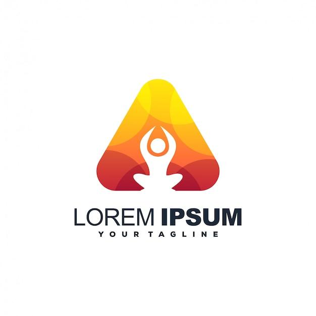 Logotipo de cor gradiente de ioga triângulo