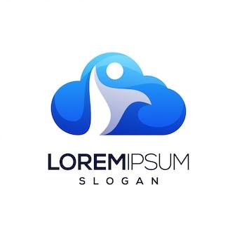 Logotipo de cor gradiente de pessoas de nuvem