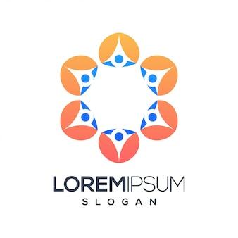 Logotipo de cor gradiente de pessoas