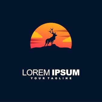 Logotipo de cor gradiente do sol veado