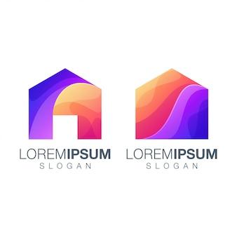 Logotipo de cor gradiente em casa
