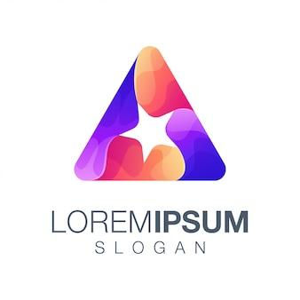 Logotipo de cor gradiente estrela triângulo