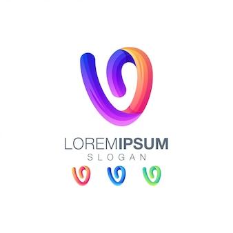 Logotipo de cor gradiente letra v