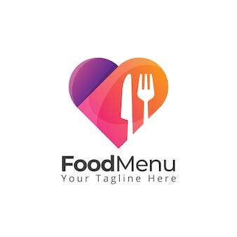 Logotipo de coração amor comida