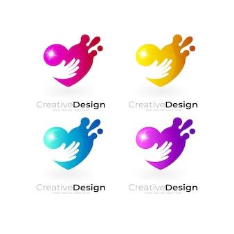 Logotipo de coração com desenho de mão de caridade, ícone colorido