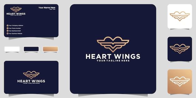 Logotipo de coração e asas em estilo de arte de linha de luxo e inspiração de cartão de visita
