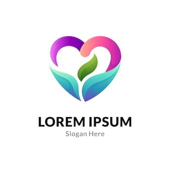 Logotipo de coração ou amor com folha
