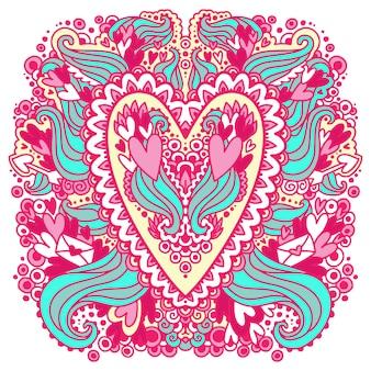 Logotipo de corações doodle