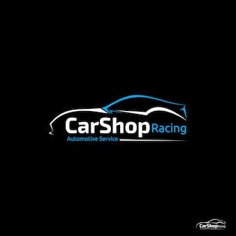 Logotipo de corrida de loja de carro