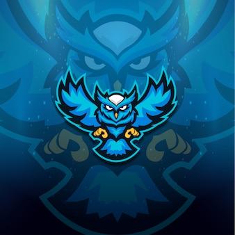 Logotipo de coruja azul esport