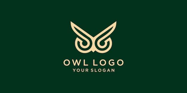 Logotipo de coruja simples e moderno vetor premium