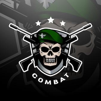 Logotipo de crânio de boina verde esport