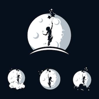 Logotipo de crianças alcançar sonhos com símbolo da lua