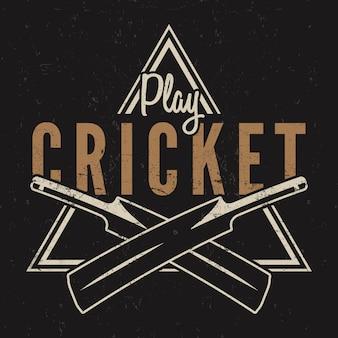 Logotipo de críquete retrô.