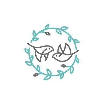 Logotipo de crista de folha de pássaro