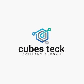 Logotipo de cubos teck