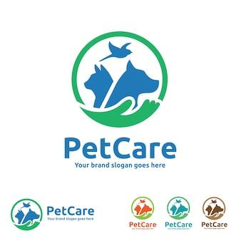 Logotipo de cuidados com cães com símbolos de cães, gatos, pássaros e mão