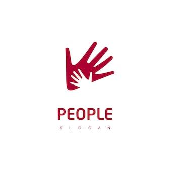 Logotipo de cuidados com o bebê com símbolo de mão