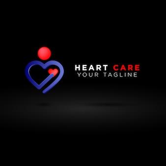 Logotipo de cuidados com o coração 3d, pessoa segurando coração, identidade de marca do hospital