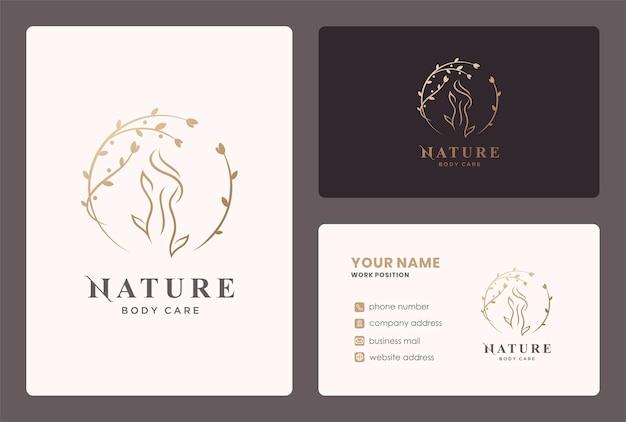 Logotipo de cuidados corporais de mulher com elemento de folha de círculo e design de cartão de visita.