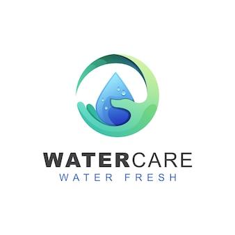 Logotipo de cuidados de água doce. modelo de design de logotipo de gota de água de mão