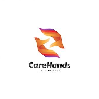 Logotipo de cuidados de cuidados de mão abstrata