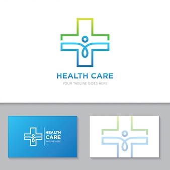 Logotipo de cuidados de saúde médicos e ilustração de ícone