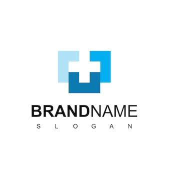Logotipo de cuidados de saúde para centro médico com linha cruzada