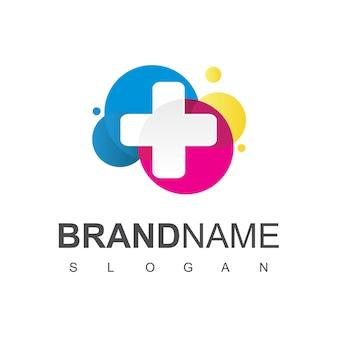 Logotipo de cuidados de saúde, para centro médico, com o símbolo de cruz de linha