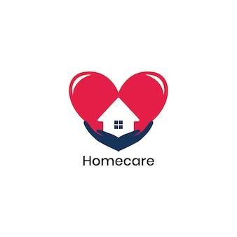 Logótipo de cuidados domiciliários adequados para empresas de saúde e proteção