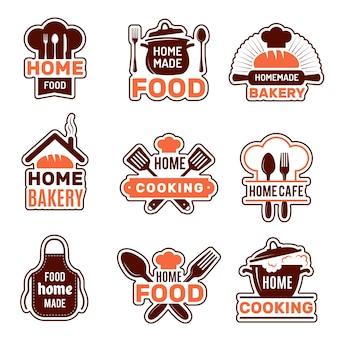 Logotipo de culinária caseira. coleção de vetores de emblemas de cozinha ilustrações vetoriais de silhuetas de padaria. cozinha caseira, avental para cozinhar caseira