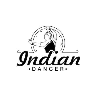 Logotipo de dançarina indiana em traje tradicional indiano