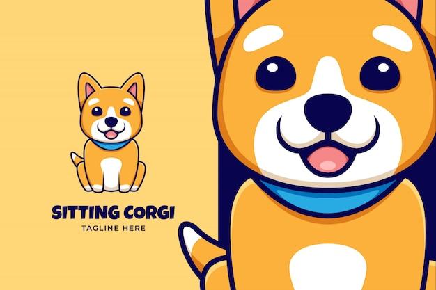 Logotipo de desenho animado com ilustração de corgi bonito