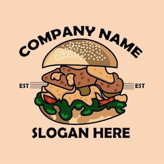 Logotipo de desenho animado de hambúrguer grande