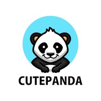 Logotipo de desenho animado de panda fofo