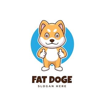 Logotipo de desenho animado do creative fat doge shiba inu