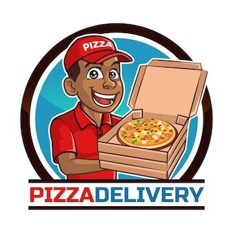 Logotipo de desenho animado do pizza delivery man