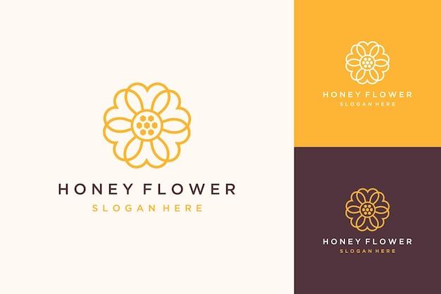 Logotipo de desenho de flor simples com mel