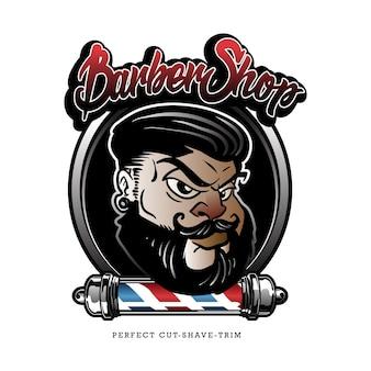 Logotipo de desenhos animados de barbearia