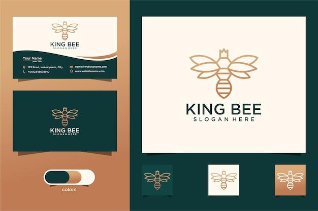Logotipo de design de abelha e coroa com um estilo de design de linha simples e cartão de visita