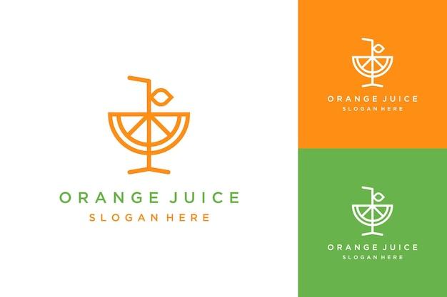 Logotipo de design de bebida ou um copo de suco de laranja