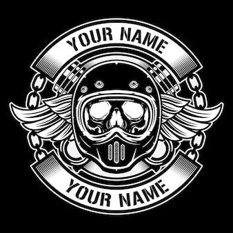 Logotipo de design de capacetes vintage